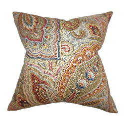 """The Pillow Collection - Lalage Paisley Pillow Multi 18"""" x 18"""" - Intricate paisley pattern in shades of green, blue, orange, brown, white and yellow are highlighted in this special throw pillow. This accent pillow gives your sofa, bed or chair extra comfort and style. Made of 100% plush and durable cotton material, this toss pillow is great for indoor use. Constructed in the USA."""