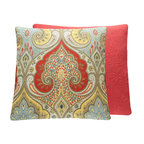 """Chloe & Olive - Chloe & Olive Instant Karma Throw Pillow, Red & Yellow, 20x20"""" - Add free-spirited Ikat style to your space with this posh Kravet Latika throw pillow in red orange, soothing yellow and soft blue."""