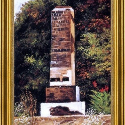 "William Aiken Walker-14""x28"" Framed Canvas - 14"" x 28"" William Aiken Walker Brick Chimney at the Edge of a Wood, North Carolina framed premium canvas print reproduced to meet museum quality standards. Our museum quality canvas prints are produced using high-precision print technology for a more accurate reproduction printed on high quality canvas with fade-resistant, archival inks. Our progressive business model allows us to offer works of art to you at the best wholesale pricing, significantly less than art gallery prices, affordable to all. This artwork is hand stretched onto wooden stretcher bars, then mounted into our 3"" wide gold finish frame with black panel by one of our expert framers. Our framed canvas print comes with hardware, ready to hang on your wall.  We present a comprehensive collection of exceptional canvas art reproductions by William Aiken Walker."