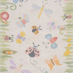 Momeni - Momeni Lil Mo Classic LMI-4 (Multi) 4' x 6' Rug - What happens when you blend a bit of nostalgia with a bit of today? You get a collection unlike any other...'Lil Mo Classic. Trains, whimsical bugs and a damask with a twist make this collection a must have. Hand-hooked of pure cotton, 'Lil Mo Classic features a cut-loop construction which gives the motifs a high/low effect and added texture. Just too cute!