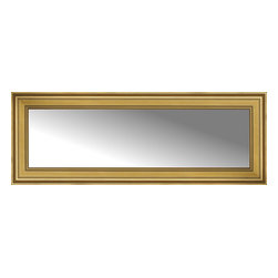 """Posters 2 Prints, LLC - 59"""" x 22"""" Arqadia Gold Traditional Custom Framed Mirror - 59"""" x 22"""" Custom Framed Mirror made by Posters 2 Prints. Standard glass with unrivaled selection of crafted mirror frames.  Protected with category II safety backing to keep glass fragments together should the mirror be accidentally broken.  Safe arrival guaranteed.  Made in the United States of America"""