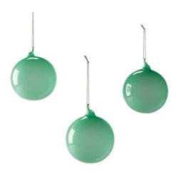 Serena & Lily - Glass Globes Jade (Medium, Set of 3) - Create a festive air with glass spheres in different sizes and hues. Lay them on the mantel, arrange them in a bowl, sprinkle them into your holiday décor. The more, the merrier. Choose from a palette that's cheerful, vibrant, and fresh.