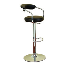 """Benzara - Chrome Vinyl Bar Chair For Ultimate Comfort - If you are left with small space in your room and you want to use this space purposely, have a look over 87004 CHROM VINYL BAR CHAIR designed for comfortable extended hours.; Material: Rust free premium grade metal alloy; Color: Black; Blends both the passions for drink and decor; Excellent bar furniture addition; Dimensions: 43""""H x 20""""W"""