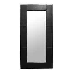 """Wholesale Interiors - Corsica Black Leather Modern Floor Mirror - Go ahead, do a double-take, the Corsica Modern Mirror is worth a second (third, fourth, fifth) glance. This full-length black bonded leather floor mirror is made in China and is fully assembled. To clean, wipe with a damp cloth and use window cleaning solution for the mirror itself. Hardware to mount on a wall is not included. A dark brown leather frame option is also available (sold separately). Overall Dimensions: 79""""(H) x 39.5"""" (W) x 1"""" (D)."""