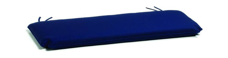 Oxford Garden - Classic Bench 5 Foot Cushion, Navy - Add comfort and style with our specially designed cushions.  All of our cushions are made of Sunbrella fabric.  Developed from 30 years' experience with awnings and boat, Sunbrella is made of durable, all weather solution-dyed acrylic.  Each cushion has ample length ties to keep your cushion in place even during those gusty days.  Single piping provides a clean looking finished edge.  Sunbrella feels soft and comfortable to the touch but is rugged outdoors.  It retains its color and strength while withstanding years of exposure to sunlight and rain. Quick drying, mold and mildew resistant, fire retardant throw pillow.