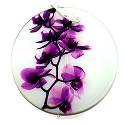 Radiant Art Studios - X-Ray Photograph Glass Ornament/Suncatcher with Orchids, Bright Magenta Orchid - Stunning 3.5 inch frosted glass ornaments with X-Ray photographs of Orchids created by surgeon and X-Ray photographer Dr. Paula Fontaine.  May also be used as sun catcher. Hemp cord provided.