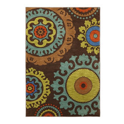 Karastan - Panache Indonesia Coffee Bean Contemporary Suzani 8' x 10' Karastan Rug (9757) - With ancient roots these wonderful pattern design couldn