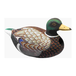 Songbird Essentials - Mallard Duck Birdhouse - Songbird Essentials adds color and whimsy to any garden with our beautifully detailed wooden birdhouses that come ready to hang under the canopy of your trees. Hand-carved from albesia wood, a renewable resource, each birdhouse is hand painted with non-toxic paints and coated with polyurethane to protect them from the elements. By using all natural and nontoxic components Songbird Essentials has created a safe environment complete with clean-out for our feathered friends.