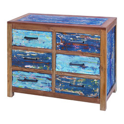 """Benzara - Sturdy Wooden Chest of Drawers with Ample Storage Capacity - A chic and exquisite piece of furniture, this Wooden Chest of drawers is crafted especially for those with a love for arty designs. The gorgeous combination of aqua blue with a dash of green, brown and purple gives this piece a suave, contrasting appearance. Featuring a very distinctive design, this chest also offers ample space for storage, thus being not only classy but also functional. Flaunting a vintage, intricate look and feel, this table originates in Indonesia, and is made from quality wood. Exceptionally sturdy and hard-wearing, this table is not only great to look at but also very practical. It comes with a dimension of 32"""" H x 40"""" W x 18"""" D."""