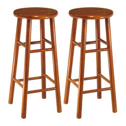 "Winsome - Set of 2 Beveled Seat 30"" Stools - Cherry finish, 30"". Solid wood construction bar stool. All asssembled. Good and basic item in modern living, Bevel seat provides comfort seating"