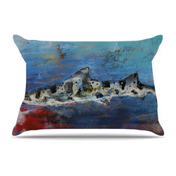 """Kess InHouse - Josh Serafin """"Sea Leopard"""" Blue Shark Pillow Case, Standard (30"""" x 20"""") - This pillowcase, is just as bunny soft as the Kess InHouse duvet. It's made of microfiber velvety fleece. This machine washable fleece pillow case is the perfect accent to any duvet. Be your Bed's Curator."""