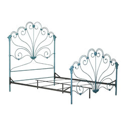 Corsican - Custom Peacock Bed, Turquoise Finish, Queen - Corsican has been in business over 40 years. Their entire focus is making wrought iron furniture. Many of their skilled craftsman are second generation.