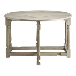 """Currey & Company - Currey & Company 47 Round Garrison Drop Leaf Table - A traditional design that's versatile now. The Garrison table has two drop leaves a perfect fit for spaces large and small. Extend one of the leaves and use the table as a server or pull them both out and use the table to seat extra dinner guests when you have a crowd. The table has six fixed legs and two 'swing' legs to support leaves (one each side). For everyday care dust with a clean dry cloth. Wipe spills immediately with soft dry cloth. Always use coasters or mats. Never place cups glasses or anything hot directly on the surface. This could cause discoloration. Currey & Company is a manufacturer of distinctive home furnishings products. They are best known for our lighting products chandeliers wall sconces table and floor lamps as well as interior furniture garden furniture and accessories. All Currey & Company's lighting products are designed and engineered to meet the rigid safety standards established by UNDERWRITER'S LABORATORY and bear the UL/CUI label (E141302 or E163523). This UL/CLUI safety certification is valid in the United States and Canada. Currey & Company lighting products can also be manufactured to meet lighting standards around the world including the European Union Middle East and Asia. Currey & Company's """"vision"""" is to create and fulfill the desire for distinctive home furnishings. Currey & Company known today for its vibrant collection of lighting products started its existence in 1988 as a purveyor of historic garden furnishings. When Robert B. Currey founded Garden Source Furnishings the main focus of the company was the creation and marketing of classic garden furniture from the Winterthur Museum and the Smithsonian Institution. These collections were joined by a very American collection of garden whimsies birdhouses and rustic twig furniture. Some lighting products were among these first offerings and by the early 1990's the lighting category had become very import"""