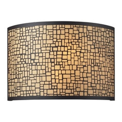 Elk Lighting - Elk Lighting 31044/2 Medina 2-Light Sconce in Aged Bronze - 2-Light Sconce in Aged Bronze belongs to Medina Collection by Etched Curved Corner Rectangles Are Brilliantly Enhanced By The Diffused Light Within This Drum Shaped Fixture. The Appearance Is Further Defined By The Polished Stainless Steel Finish With A Sparkling White Diffuser Or An Aged Bronze Finish With An Amber Diffuser. Sconce (1)