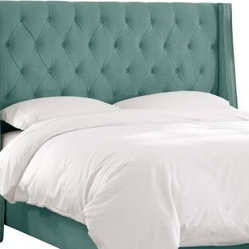 Skyline Velvet Tufted Nail Button Wingback Upholstered Headboard