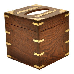 SouvNear - SouvNear Square Wooden Tissue Box Cover / Holder with Beautiful Brass Inlay-Work - * Handmade in solid rosewood - good for a lifetime.