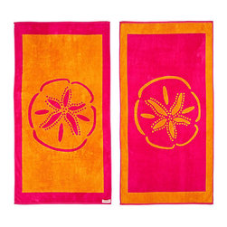 FREEMAN LCL - 100% Cotton Reversible Oversized Beach Towel, Pink/Orange, Sand Dollar, Sand Dol - This wonderfully lush, oversized beach towel features a fun sand dollar print on both sides. Made from super plush cotton, this beach towel is reversible for versatility.