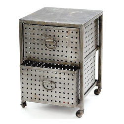 Go Home Ltd - Go Home Ltd Two Drawer Industrial Bin Unit X-09501 - Go Home Ltd Two Drawer Industrial Bin Unit X-09501