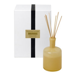 Chamomile Lavender / Bedroom Diffuser - 15 oz. - Herbal�depths within a warm embrace of soothing scents make the Chamomile Lavender Diffuser perfect for a secluded bedroom, as classic aromatherapy scents encourage you to relax and enjoy the simple comforts you've collected.� Lavender buds and chamomile flowers supply a rich, full-bodied scent that eases your troubles when you place this low-key yellow bottle nearby.