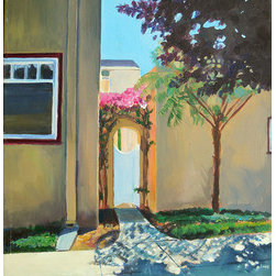 Long Beach Gate (Original) by Zoe Zuniga - When I lived in Long Beach there were so many pretty homes with garden gates that I collected a series of sketches and photos to paint from.