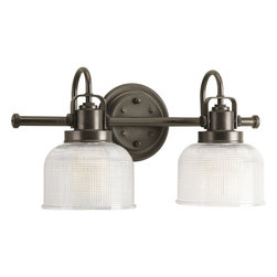 Progress Lighting - Progress Lighting P2991-74 2-Light Bathroom Lighting Fixture - Progress Lighting P2991-74 2-Light Bathroom Lighting Fixture with Clear Double Prismatic Glass Shades