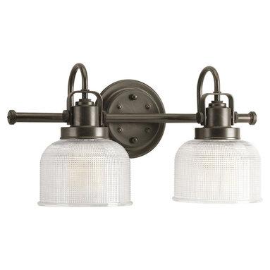 Progress Lighting - Progress Lighting P2991-74 2-Light Bathroom Lighting Fixture - Progress Lighting P2991-74 2-Light Bathroom Lighting Fixture with Clear Double Prismatic Glass Shades