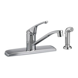 American Standard - American Standard 4175.201.002 Colony Kitchen Faucet w/Handspray, Chrome - This American Standard 4175.201.002 Colonty Single Control Kitchen Faucet with Handspray is part of the Colony collection, and comes in a beautiful Chrome finish. This single control kitchen faucet comes with a metal lever handle, and a color-matched side-spray that can be mounted on either side of the faucet.