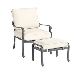 Ballard Designs - Maison Lounge Chair & Ottoman - Basic off-white box cushions included. Coordinates with Maison Dining Collection & Maison Lounge Collection. Fully assembled. Replacement cushions available. Requires 1 replacement cushion per lounge chair & ottoman. Use of an outdoor furniture cover is recommended to extend the life of your piece. The graceful geometric pattern in this timeless collection was inspired by Mediterranean tile work. Hand applied Zinc finish frames are crafted of fully welded cast aluminum, making them exceptionally strong and resistant chipping and rust.Maison Outdoor Lounge Chair & Ottoman features: . . . . .