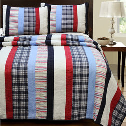 None - Ronnie Varsity Striped 3-piece Quilt - Favorite colors plus sporty stripes make this traditional hand-pieced cotton quilt with an untraditional design the perfect piece to complement a boy's room. The quilt features thick and thin striped patchwork in various colors.