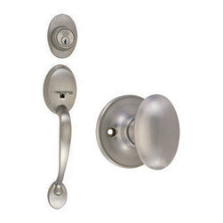 DHI-Corp - Coventry 2-Way Handle Set with Egg Knob, Keyway and Door Handle, Adjustable Back - The Design House 750208 Coventry 2-Way Handle Set includes three satin nickel pieces for your front door. The Coventry handle set and lock gives a stately look to your front door. The egg knob handle fits comfortably in your hand and the satin nickel finish blends with a variety of decor options. It fits doors 1-3/8-inches to 1-3/4-inches thick. The deadbolt lock fits right or left hand doors and includes a radius and latch plate that has a plated zinc alloy construction. This lock has a 5-pin high security cylinder deadbolt with a full 1-inch throw. The 2-way latch is adjustable from 2-3/8-inches to 2-3/4-inches. The Design House 750208 Coventry 2-Way Handle Set provides style and safety. It is UL listed for use on fire doors to ensure the highest quality and is grade 3 certified. This product has a lifetime-limited warranty, attesting to the quality of all Design House products, and integrates traditional curves with the amenities of industry leading features. Design House offers products in multiple home decor categories including lighting, ceiling fans, hardware and plumbing products. With years of hands-on experience, Design House understands every aspect of the home decor industry, and devotes itself to providing quality products across the home decor spectrum. Providing value to their customers, Design House uses industry leading merchandising solutions and innovative programs. Design House is committed to providing high quality products for your home improvement projects.