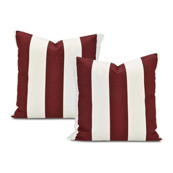 EFF - Cabana Burgundy Stripe Cotton Pillow Cover (Set of 2) - Decorate your home in contemporary style with these Cabana pillow covers. Crafted with soft cotton,these square white pillowcases feature a trendy burgundy stripe pattern,finished with a charming envelope-style button closure.