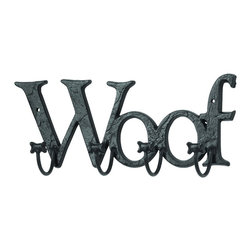 Woodland Imports - 5 Metal Dog Woof Letters Paw Hooks Foyer Wall Accent Decor - Classic and modern style 5 metal dog woof letters with paw hooks foyer, living and dining room wall accent decor