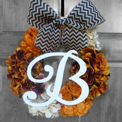 Handmade Designer Wreaths - Monogrammed hydrangea wreath for outside or inside décor.  Available in several sizes, ribbon colors, and choice of monogram!  Beautiful silk hydrangeas in Fall Holiday colors.