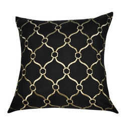 """Loom and Mill - Loom and Mill P0038-2020P 20"""" x 20"""" Black Chainmail Decorative Pillow - This classically embroidered decorative pillow not only appeals to your obvious high class style, but to your need to be comforatable as well. Spot clean only."""