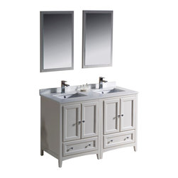 """Fresca - Fresca Oxford 48"""" Antique White Double Sink Vanity - Dimensions of vanity:  48""""W x 20.38""""D x 32.63""""H. Dimensions of mirror:  20""""W x 31.88""""H. Materials:  Solid wood frame, MDF panels, quartz stone countertop, ceramic undermount sinks w/ overflow. Single hole faucet mounts. 4 soft close doors. 2 soft close dovetail drawers. Seamless countertop w/ matching backsplash. P-traps, faucets, pop-up drains and installation hardware included. Blending clean lines with classic wood, the Fresca Oxford traditional bathroom vanity is a must-have for modern and traditional bathrooms alike.  The vanity frame itself features solid wood in a stunning antique white finish that's sure to stand out in any bathroom and match all interiors.   Available in many different finishes and configurations."""