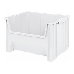 Akro-Mils - Stak-N-Store Bin- Set of 3, White - Stak-N- Store bins are the perfect way to organize heavy, bulky items. General purpose storage containers are roomy and strong to hold almost anything. Bins stack to form tall, stable storage arrangements on floors or standard industrial shelving. Quality construction makes them virtually unbreakable. Quality construction makes them virtually unbreakable.