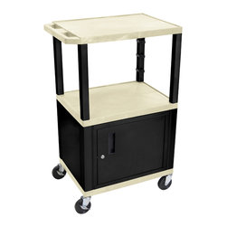 Luxor - H Wilson Presentation Cart - WT42OWC2E-B - H Wilson's WT Tuffy multi-purpose carts are made of high density polyethylene structural foam injection molded plastic shelves and legs that will not chip, warp, crack, rust or peel. Shelves and legs can be recycled.