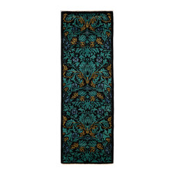 """Darya Rugs - Darya Rugs Arts and Crafts, Black, 2'8"""" x 7'10"""" Runner Rug M1770-378 - Darya Rugs Arts and Crafts are Inspired by William Morris' timeless designs, this collection features sophisticated motifs infused in bright, vibrant hues."""
