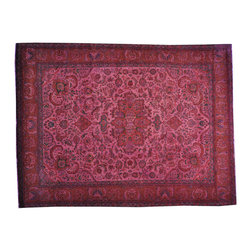 1800GetARug - Old Persian Tabriz Worn Pink Overdyed Hand Knotted Oriental Rug Sh17620 - The Overdyed and Patchwork hand knotted rug, represents one of the hottest trends in the industry today. Each Overdyed rug is stripped of its original colors, then dyed again in vibrant hues, to create unique and one-of-a-kind pieces. The Patchwork rug is handcrafted out of salvaged, vintage carpets, with a variety of colors combining to form a wholly unique and textured design.