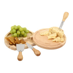 None - Eparé Cheese Board and Tool Set - The Eparé Cheese board and tool set is perfect for cheese lovers. Featuring a swivel-style,easy to clean,circular chopping board. The top of this uniquely designed cheese set slides away on a hinge,revealing the gadgets nested inside.