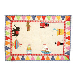 """Wingreen - WinGreen Small Toy Shop Floor Quilt - Our Toy Shop Floor Quilt is appliqued and embroidered with an assortment of traditional toys, including a spinning top, jack-in-the-box and toy soldier. These lightly padded floor quilts are designed to fit the base of WinGreen Toy Shop Playhouses. They also make great rugs or play mats. Machine washable. Available in 2 sizes. Small: 43.30"""" x 29.13"""" and Large: 52.75"""" x 43.30"""""""
