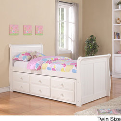 Donco Kids - Trundle Storage White Finish Sleigh Captain's Bed - Highlighting a classic design the Captain's trundle storage sleigh bed is built with a solid pine wood frame. The slight curves in the headboard and footboard provide a touch of tradition and elegance to any room.