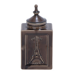 ecWorld - Urban Designs 'Eiffel Paris' Decorative Ceramic Jar, Cracked Brown - An elegant addition to tables or counters, this beautiful lidded jar is a gorgeous addition to any home decor.
