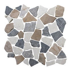 """pebble tille - Fit Mosaic Tiles , Tan White & Grey Blend, 12"""" X 12"""" - The Fit mosaic tile group is unique and dramatic with the seamless interlocking squares these mosaic tiles tie any space together creating a wonderfully designed project. With a variety of shades the fit mosaic lines magically combines tumbled shapes and natural hues to bring subtle beauty to any surface. The versatility of this tile is endless and can bring a fantastic glow to any space in your home, office or exterior area."""