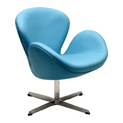 Modway Furniture - Modway Wing Leather Lounge Chair in Baby Blue - Leather Lounge Chair in Baby Blue belongs to Wing Collection by Modway Perhaps no chair is more synonymous with organic design than the Wing chair. First intended as an outstretched reception chair, the piece is expansive like the wings of its namesake. While organic living promotes the harmonious balance between human habitation and the natural world, achieving proper balance is a challenge. It is often left to the designers, those creative leaders of the generation, to guide the way. While the padded fiberglass shell is upholstered in a layer of fabric, the admiration for this piece comes from a much deeper source. First developed in the mid-20th century, the Wing chair is a testament to the potential inherent in human endeavor. While the chair rests firmly on a sturdy polished aluminum frame, it's the abandonment from the particulars of engineering and industry that make it so endearing. Set Includes: One - Wing Chair in Aniline Leather Lounge Chair (1)