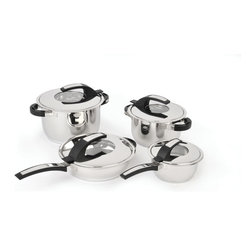 "Berghoff - Berghoff Virgo Stainless Steel Cookware Set  8 pc. - The Virgo 8pc Cookware Set is constructed from 18/10 stainless steel and features flawless mirror finish, practical scaling, and a revolutionary 6-layer sandwich base for fast and energy-saving cooking. Set includes 6.25"" covered saucepan, 8"" covered casserole, 10"" covered stockpot, and 10"" covered deep skillet."