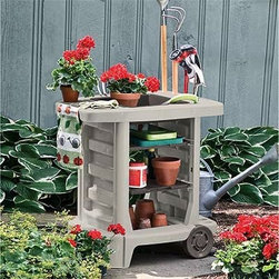Suncast Dexter Resin Potting Bench - The perfect cart for all your potting and gardening supplies the Dexter Potting Bench offers multiple storage options and a smart portable design. You can store extra pots on the three interchangeable shelves and the tabletop has a four-inch-deep bin for mixing soil. A removable grate rests on top of the bin which allows you to save soil as you pot. Slots on the side hold full-size and hand-held gardening tools. A towel rack on the other side will keep rags and towels handy while you work. The wheels on one side allow you to easily move the potting bench to any location in your garden. This maintenance-free potting bench is constructed of resin a material known for its weather-resistance and durability. Easy tool-free assembly. Order the Dexter bench today and keep all your gardening supplies right beside you as you work. About Suncast Corporation:Suncast is known for its high-quality low-maintenance storage products and accessories. Organize gardens back yards garages basements and more. Suncast's full line of products includes everything from storage lockers to sheds and bins. Suncast pieces are designed for low-maintenance worry-free performance that's versatile enough to suit your every need.