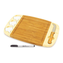 Picnic Time - Delio Bamboo Cheese Board & Knife - The simple sophistication of wine and cheese is delightfully pleasing to the palate. This classic cheese board is perfect for a picnic under the stars or a romantic night at home.   Includes cheese board and knife Board: 14'' W x 9'' H x 0.75'' D  Cheese board: bamboo Knife: stainless steel Hand wash Imported