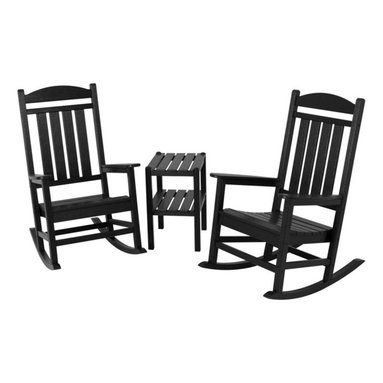 Polywood - 3-Piece Eco-friendly Rocker Set in Black - Solid, heavy-duty construction withstands natures elements. Stately enough for the Oval Office but much more charming on your deck or front porch, the Polywood Presidential 3-Piece Rocker Set is timeless in design and unmatched in comfort. Polywood lumber requires no painting, staining, waterproofing, or similar maintenance. It does not splinter, crack, chip, peel or rot and it is resistant to corrosive substances, insects, fungi, salt spray and other environmental stresses.