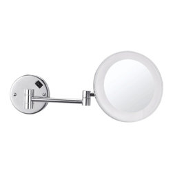 Nameek's - Wall Mounted Lighted Makeup Mirror - This 8 inch round, wall mounted mirror is a single face makeup mirror. The single face has a 3x magnification and an LED light. It is a contemporary, Italian style mirror made from high quality brass.